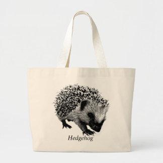 Adorable Hedgehog. Wildlife Digital Engraving Large Tote Bag