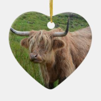 Adorable Highland Cow Ceramic Heart Decoration