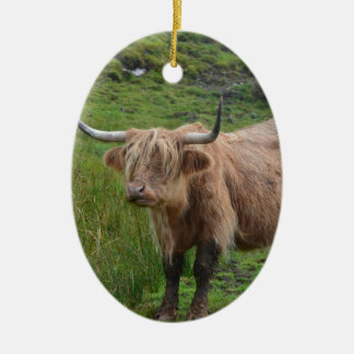 Adorable Highland Cow Ceramic Oval Decoration
