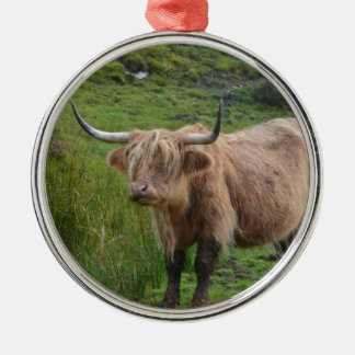 Adorable Highland Cow Silver-Colored Round Decoration