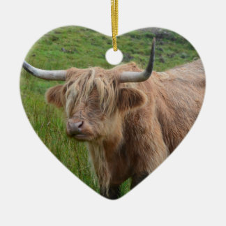 Adorable Highland Cow Ceramic Heart Decoration