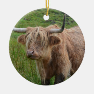 Adorable Highland Cow Double-Sided Ceramic Round Christmas Ornament