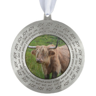 Adorable Highland Cow Round Pewter Ornament