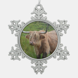 Adorable Highland Cow Pewter Snowflake Decoration