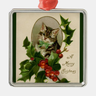 Adorable Holiday Kitty Cat Merry Christmas Holly Christmas Ornament