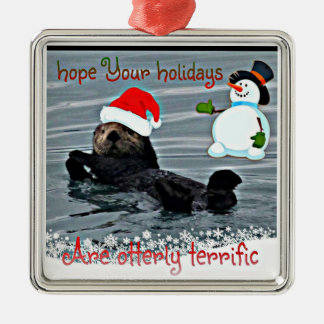 Adorable Holiday Sea Otter Ornament
