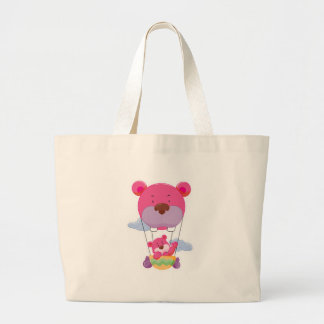 adorable hot air balloon bear jumbo tote bag