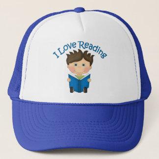Adorable I LOVE READING Little Boy Reading Tees Trucker Hat