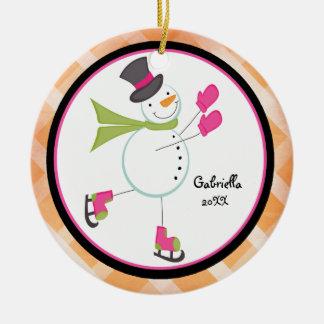 Adorable Iceskating Snowman Christmas Ornament