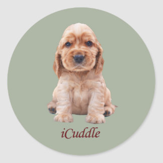 Adorable iCuddle Cocker Spaniel Classic Round Sticker