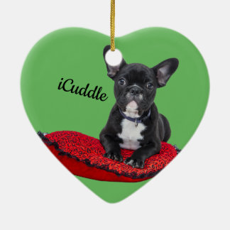 Adorable iCuddle French Bulldog Christmas Ornament