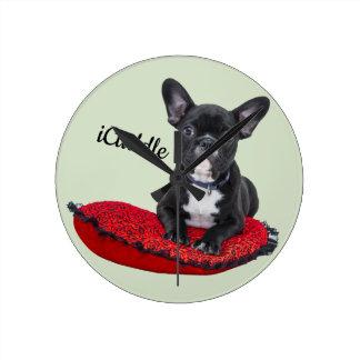 Adorable iCuddle French Bulldog Round Clock