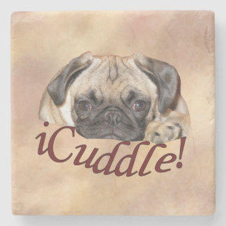 Adorable iCuddle Pug Puppy Stone Coaster
