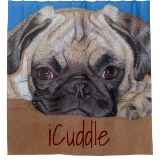 Adorable iCuddle Pug Shower Curtain
