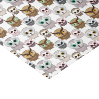 Adorable Illustrated Owls Pattern Tissue Paper