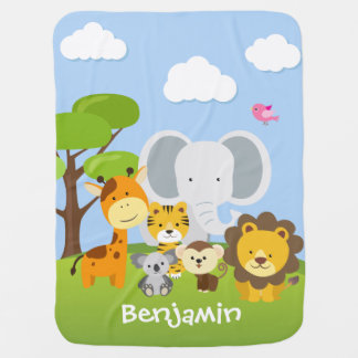 Adorable Jungle Animal Friends Baby Blanket