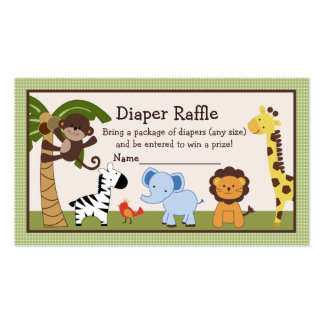 Adorable Jungle Buddies Diaper Raffle Tickets Double-Sided Standard Business Cards (Pack Of 100)