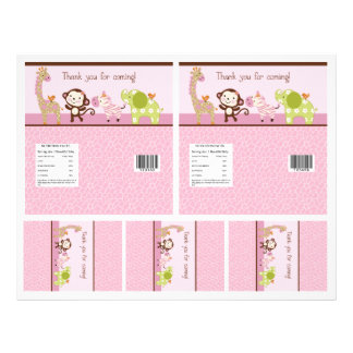 "Adorable ""Jungle Girl"" Candy Bar Labels 2 sizes 21.5 Cm X 28 Cm Flyer"