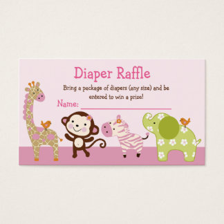 Adorable Jungle Jill Animals Diaper Raffle Tickets