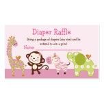 Adorable Jungle Jill Animals Diaper Raffle Tickets Business Cards