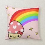 Adorable Kawaii Pink Bow Mushroom Rainbow Pillow