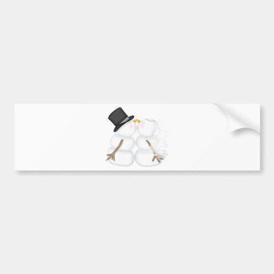 Adorable Kissing Snowman Couple Bumper Sticker