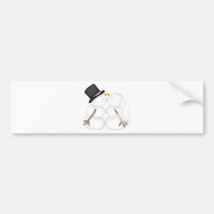 Adorable Kissing Snowman Couple Bumper Sticker