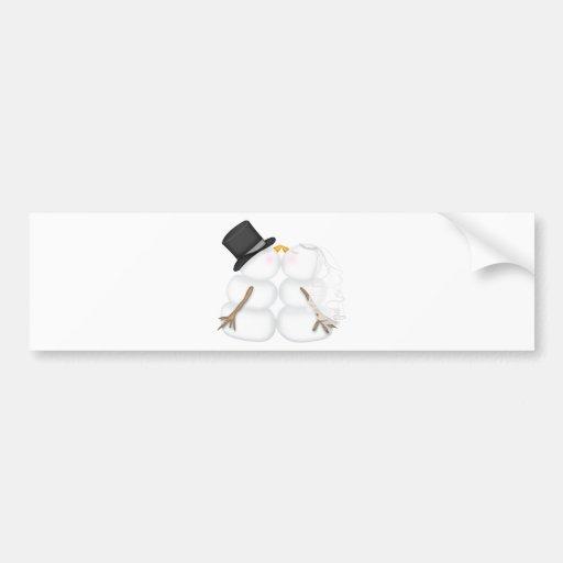 Adorable Kissing Snowman Couple Car Bumper Sticker