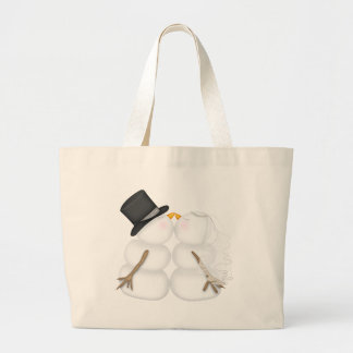 Adorable Kissing Snowman Couple Large Tote Bag