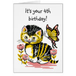 Adorable Kitten and Butterfly Fourth Birthday Card