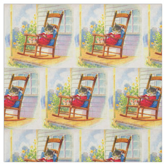 adorable kitten napping on porch rocker print fabric