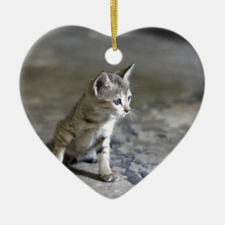 Adorable Kitten on a marble floor. Ceramic Heart Decoration