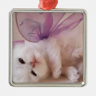 Adorable Kitten with wings Silver-Colored Square Decoration