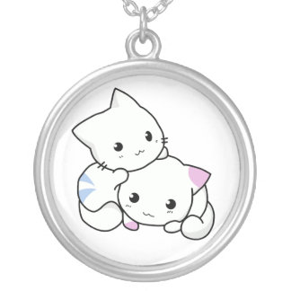 Adorable Kittens Silver Plated Necklace