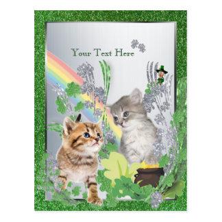 Adorable Kittens St Pattys Version 2 Customize It Postcard