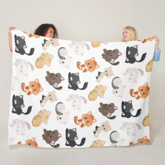 Adorable Kitty Cats Print Fleece Blanket