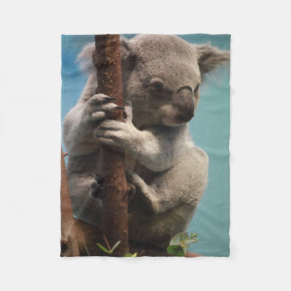 Adorable Koala Holding Onto Tree Fleece Blanket