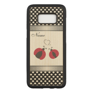 Adorable ladybugs in love polka dots personalized carved samsung galaxy s8 case