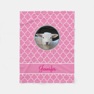 Adorable Lamb Pink Quatrefoil with Name Fleece Blanket