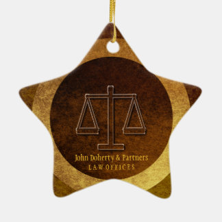 Adorable Lawyer Gift | Scales of Justice Ceramic Star Decoration