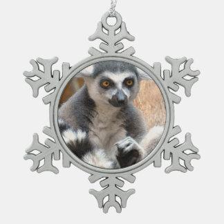 Adorable Lemur Pewter Snowflake Decoration