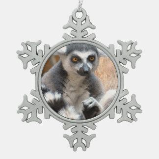 Adorable Lemur Snowflake Pewter Christmas Ornament