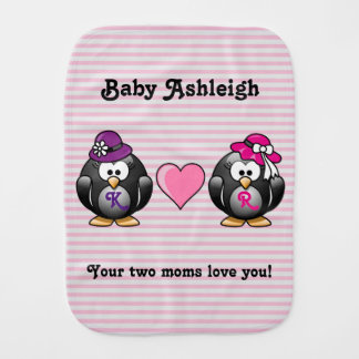 Adorable Lesbian Penguins Two Brides Heart Hat Burp Cloth