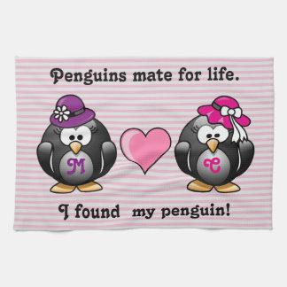 Adorable Lesbian Penguins Two Brides Heart Hats Towel