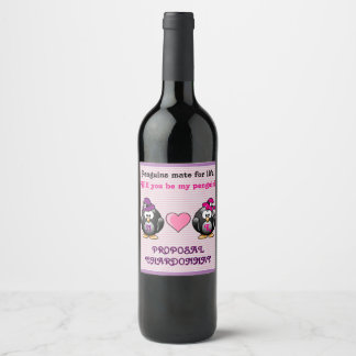 Adorable Lesbian Penguins Two Brides Heart Hats Wine Label