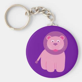 Adorable Lion Basic Round Button Key Ring