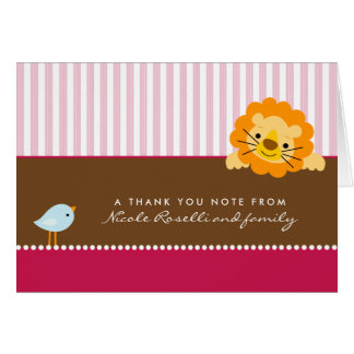 Adorable Lion Photo (inside) Thank You Card: pink Card