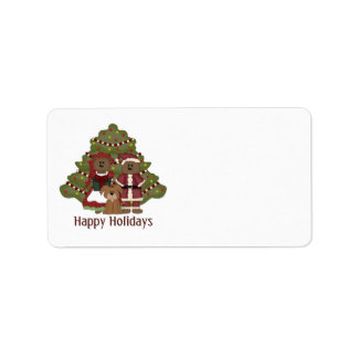 Adorable Little Brown Doggy Christmas Holiday Address Label