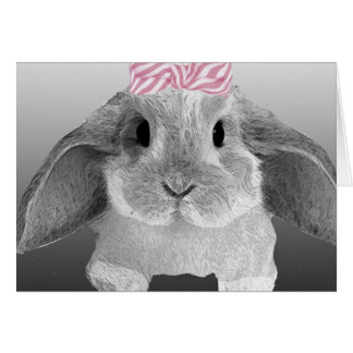 Adorable little bunny with a pink bow card