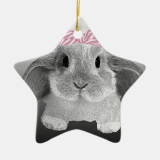 Adorable little bunny with a pink bow ceramic star decoration